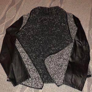 Blu Pepper Blazer Jacket with Pleather Sleeves